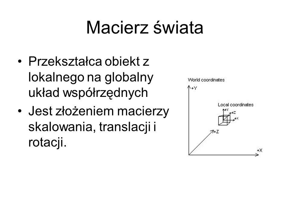 Macierz świataPrzekształca obiekt z lokalnego na globalny układ współrzędnych.