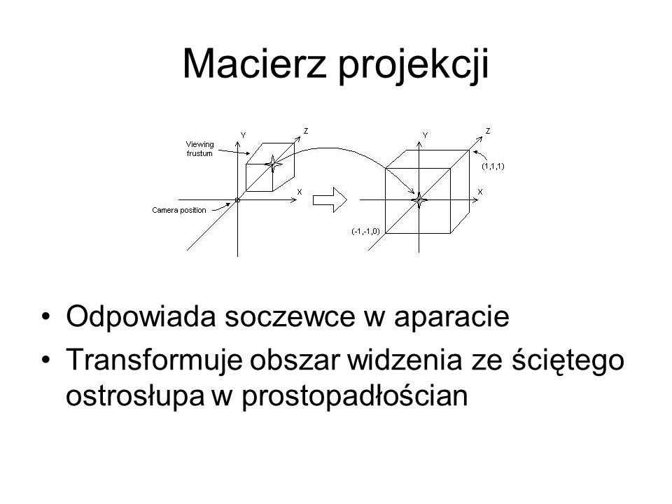 Macierz projekcji Odpowiada soczewce w aparacie