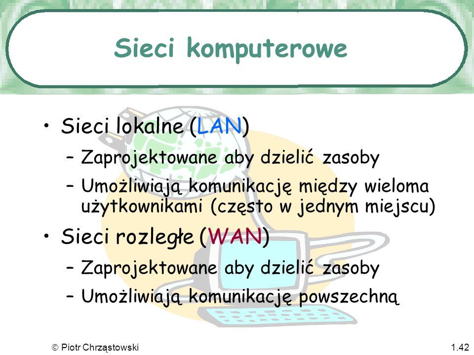 Sieci komputerowe Sieci lokalne (LAN) Sieci rozległe (WAN)