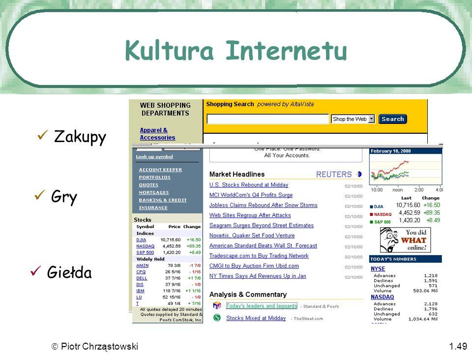 Kultura Internetu Zakupy Giełda Gry  Piotr Chrząstowski