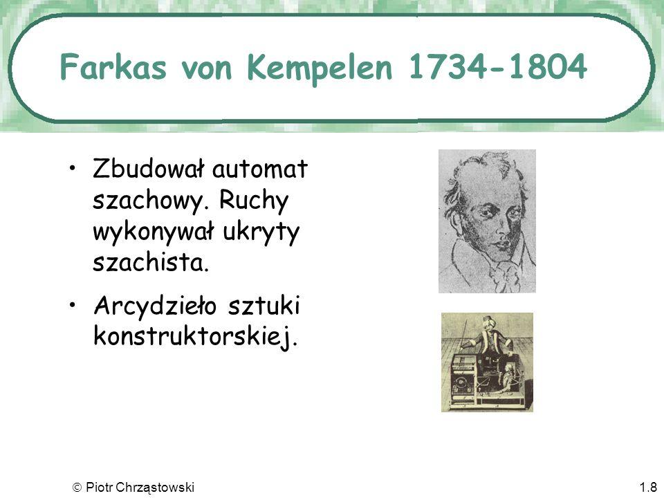 Farkas von Kempelen 1734-1804 Zbudował automat szachowy. Ruchy wykonywał ukryty szachista. Arcydzieło sztuki konstruktorskiej.
