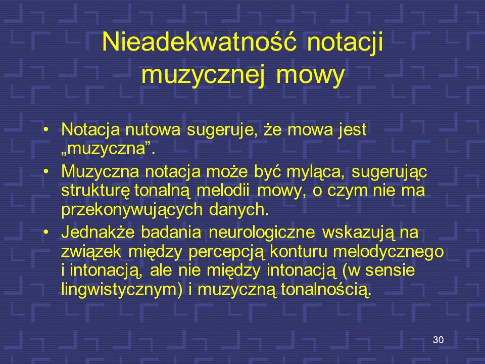 Nieadekwatność notacji muzycznej mowy
