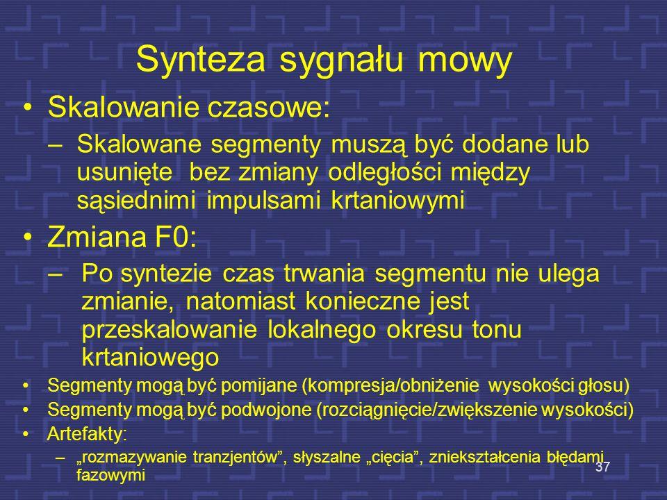Synteza sygnału mowy Skalowanie czasowe: Zmiana F0: