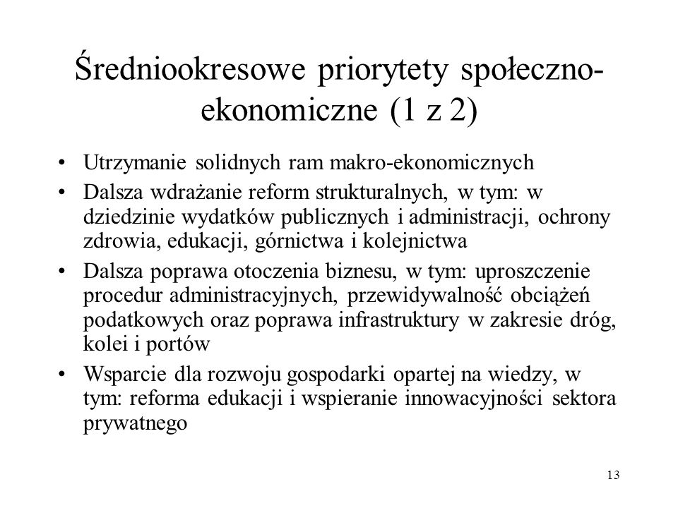 Średniookresowe priorytety społeczno-ekonomiczne (1 z 2)