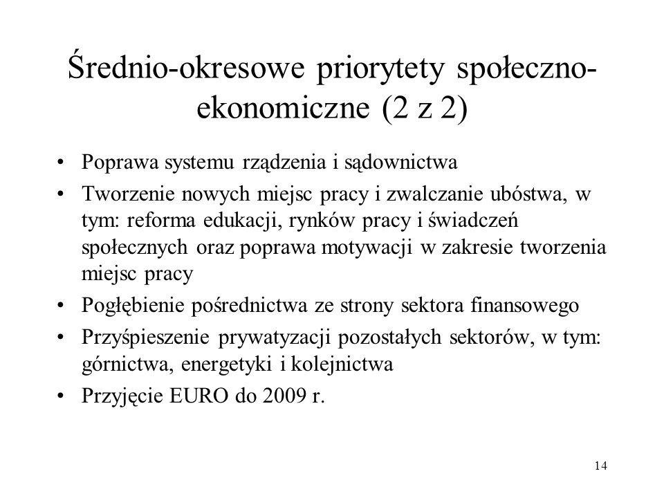 Średnio-okresowe priorytety społeczno-ekonomiczne (2 z 2)