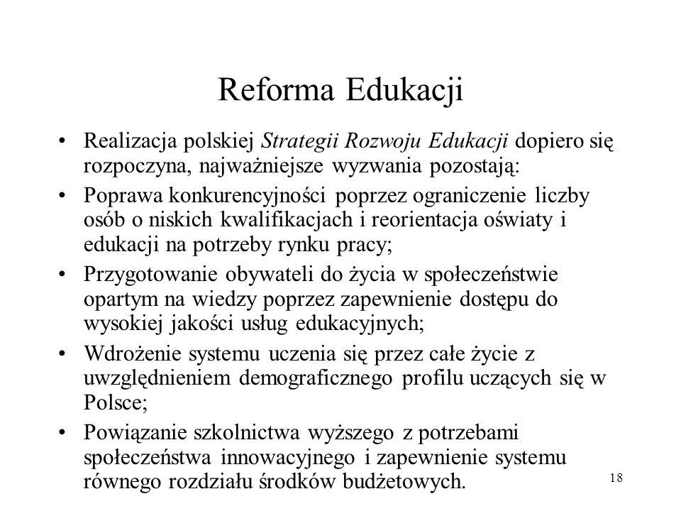 Reforma Edukacji Realizacja polskiej Strategii Rozwoju Edukacji dopiero się rozpoczyna, najważniejsze wyzwania pozostają: