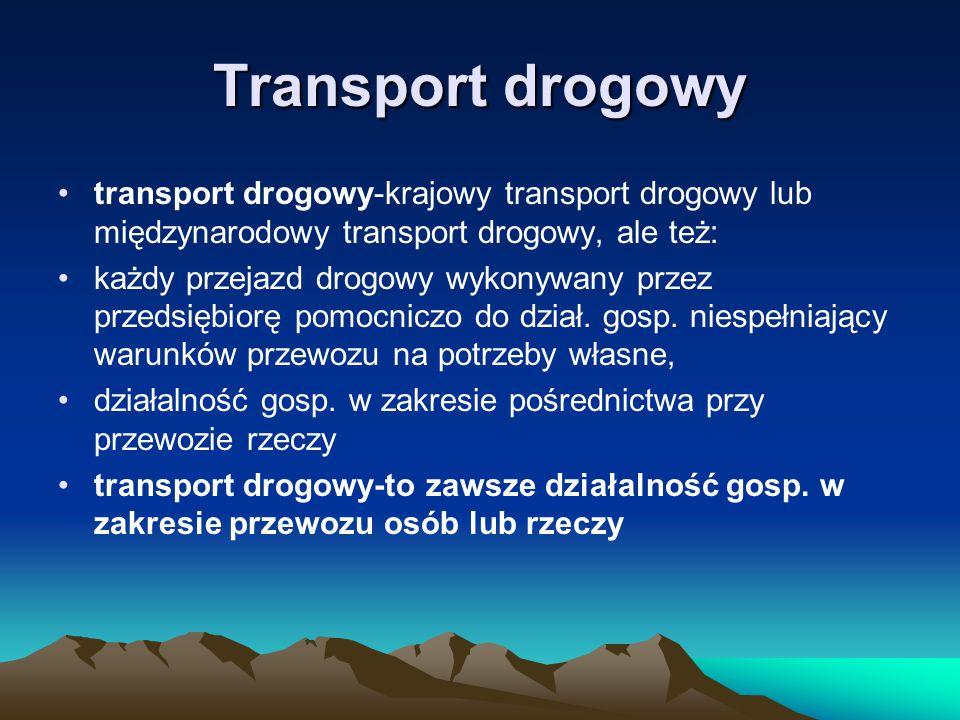 Transport drogowy transport drogowy-krajowy transport drogowy lub międzynarodowy transport drogowy, ale też: