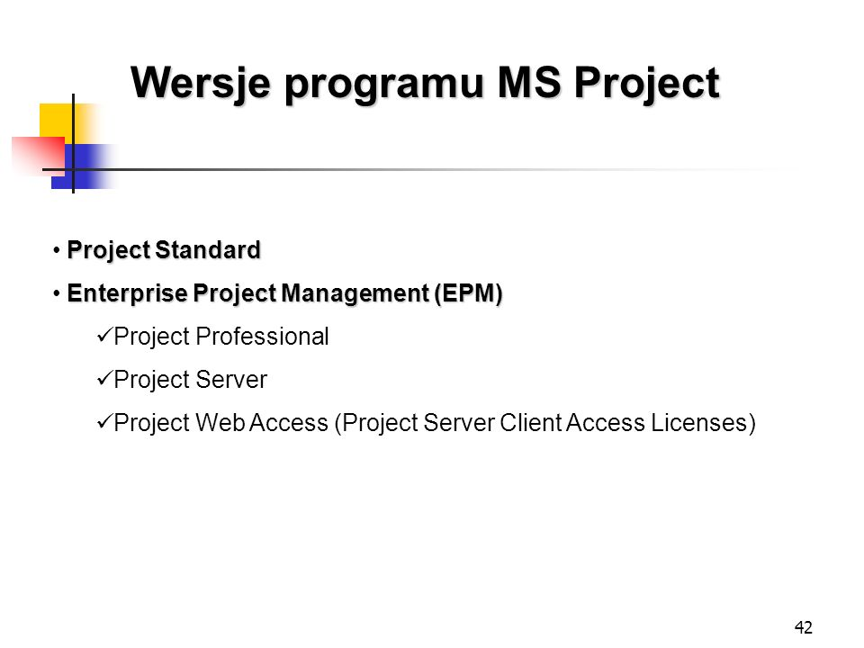 Wersje programu MS Project