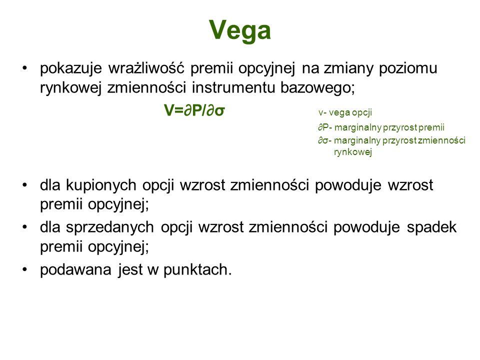 Vega pokazuje wrażliwość premii opcyjnej na zmiany poziomu rynkowej zmienności instrumentu bazowego;