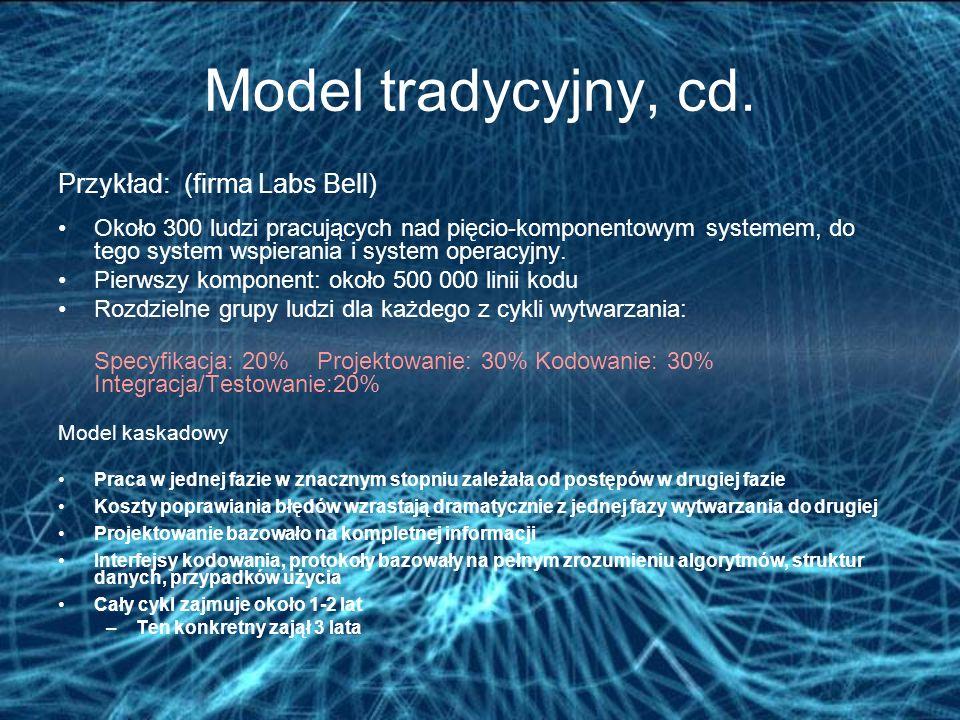 Model tradycyjny, cd. Przykład: (firma Labs Bell)