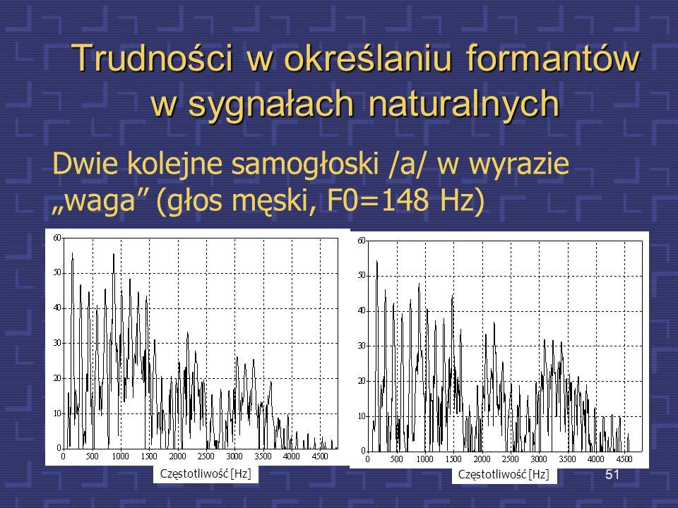 Trudności w określaniu formantów w sygnałach naturalnych