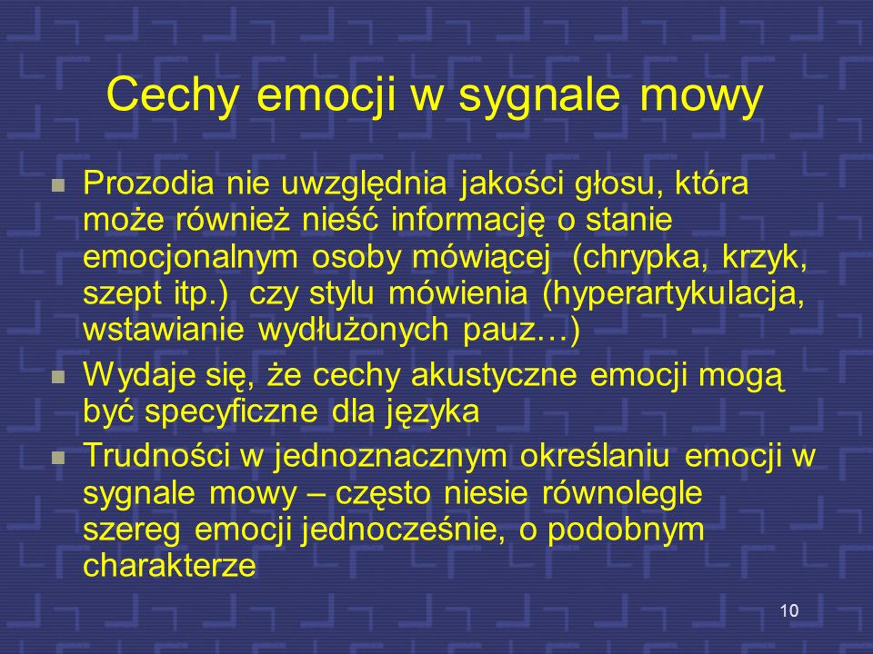 Cechy emocji w sygnale mowy