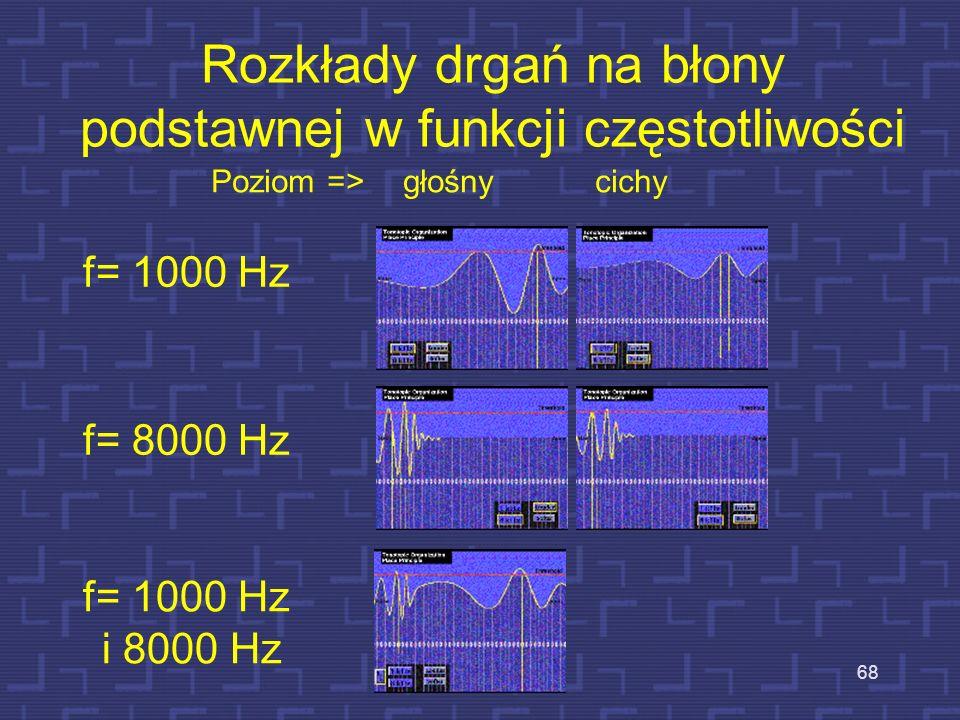 Rozkłady drgań na błony podstawnej w funkcji częstotliwości