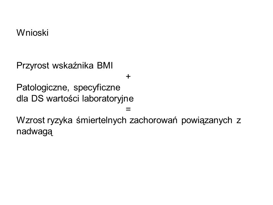 Wnioski Przyrost wskaźnika BMI