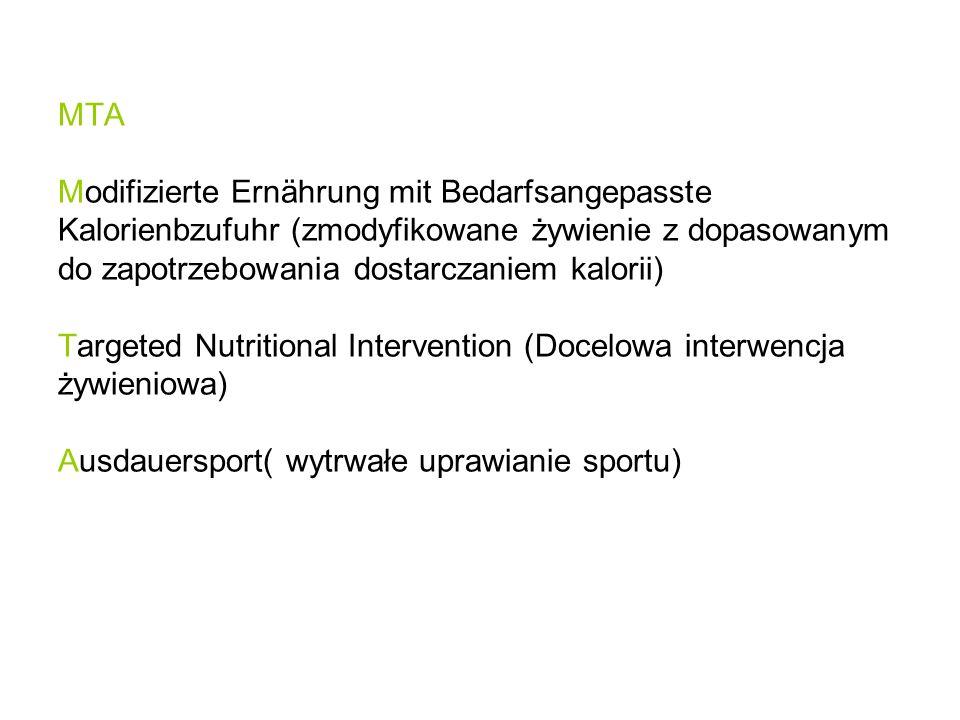 MTA Modifizierte Ernährung mit Bedarfsangepasste Kalorienbzufuhr (zmodyfikowane żywienie z dopasowanym do zapotrzebowania dostarczaniem kalorii) Targeted Nutritional Intervention (Docelowa interwencja żywieniowa) Ausdauersport( wytrwałe uprawianie sportu)