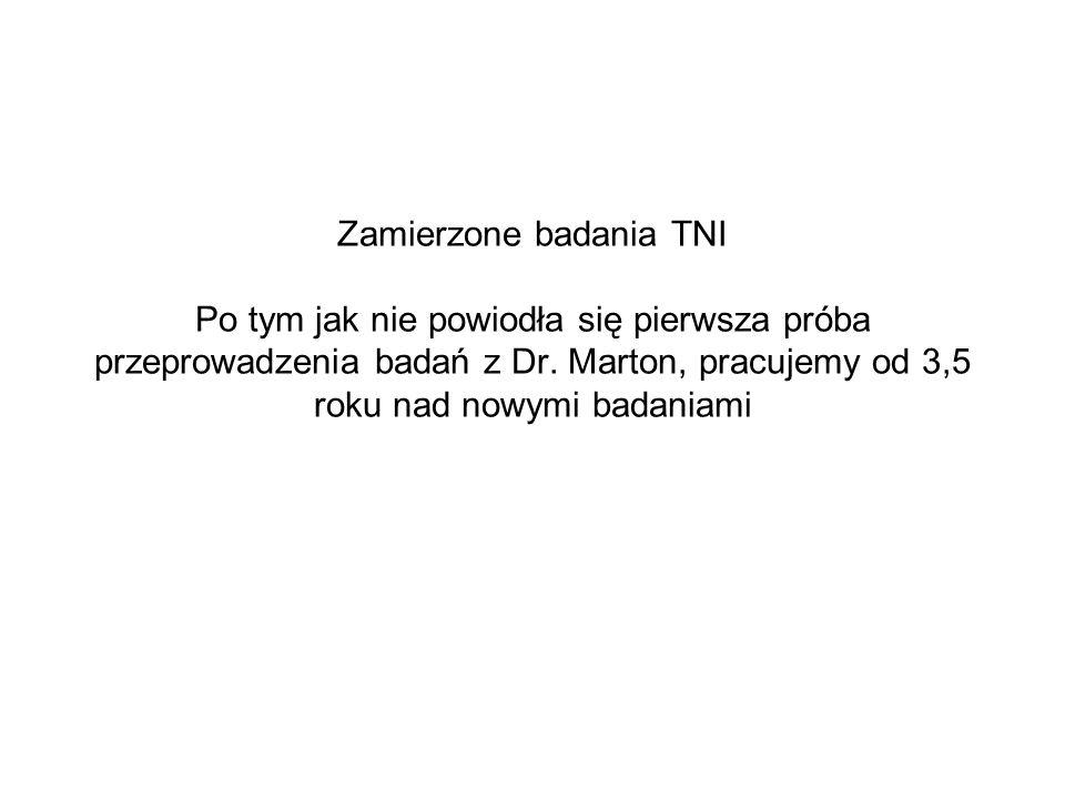 Zamierzone badania TNI Po tym jak nie powiodła się pierwsza próba przeprowadzenia badań z Dr.