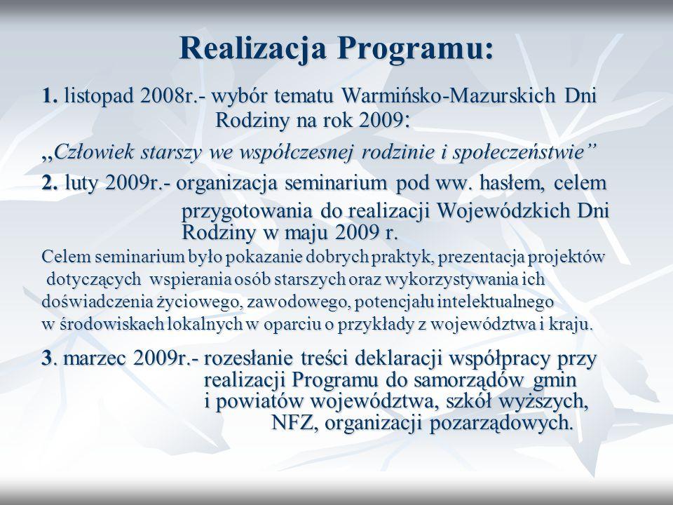 Realizacja Programu: 1. listopad 2008r.- wybór tematu Warmińsko-Mazurskich Dni Rodziny na rok 2009: