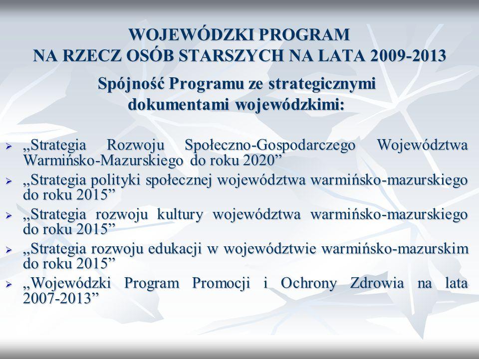 WOJEWÓDZKI PROGRAM NA RZECZ OSÓB STARSZYCH NA LATA 2009-2013