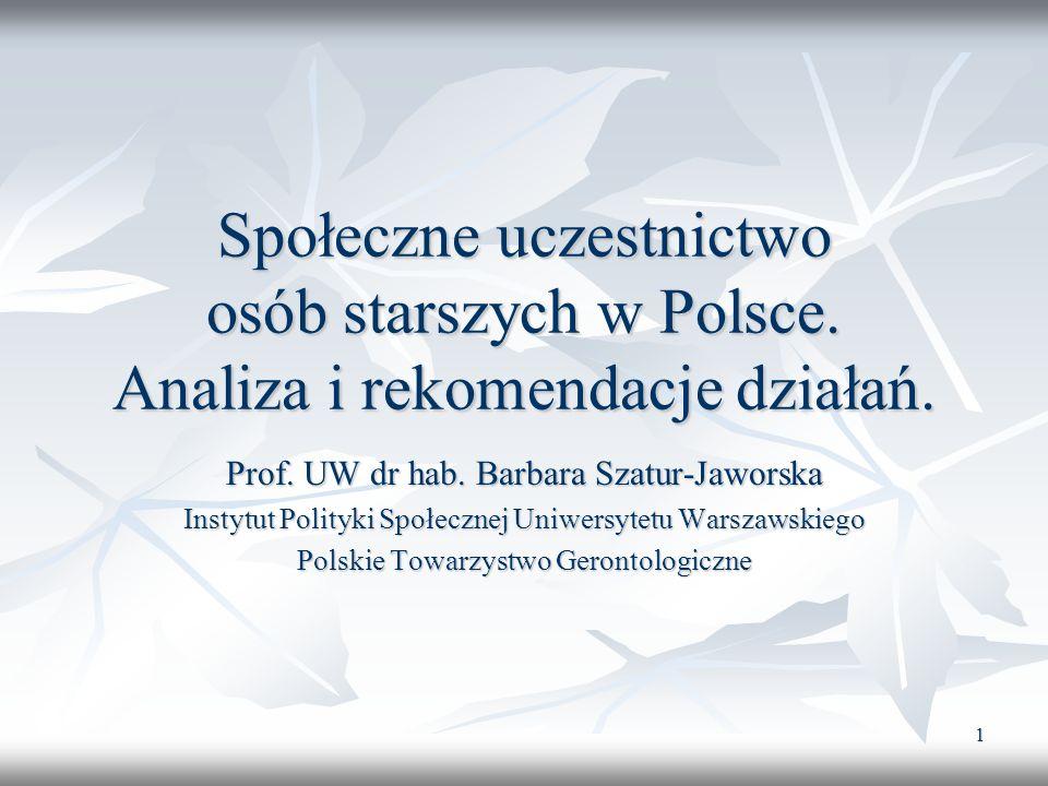 Społeczne uczestnictwo osób starszych w Polsce
