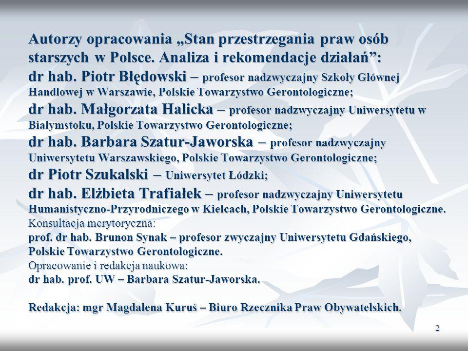 """Autorzy opracowania """"Stan przestrzegania praw osób starszych w Polsce"""