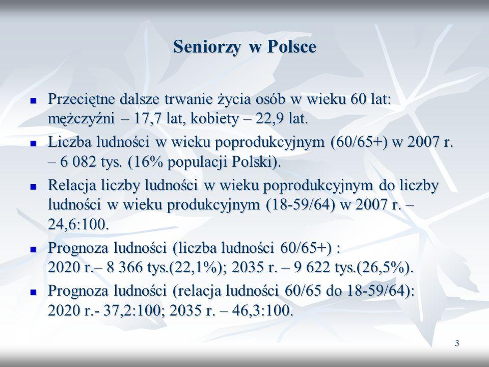 Seniorzy w Polsce Przeciętne dalsze trwanie życia osób w wieku 60 lat: mężczyźni – 17,7 lat, kobiety – 22,9 lat.