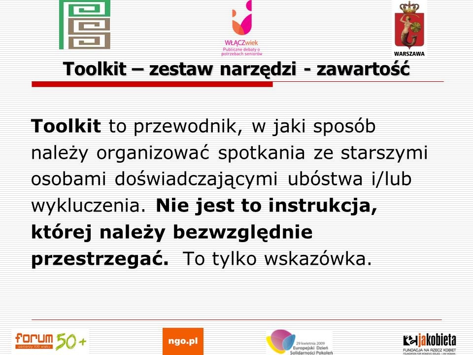 Toolkit – zestaw narzędzi - zawartość