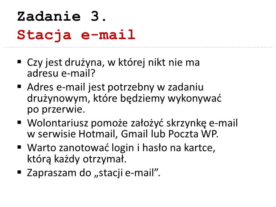 Zadanie 3. Stacja e-mail Czy jest drużyna, w której nikt nie ma adresu e-mail