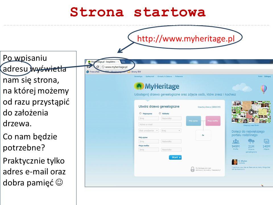 Strona startowa http://www.myheritage.pl