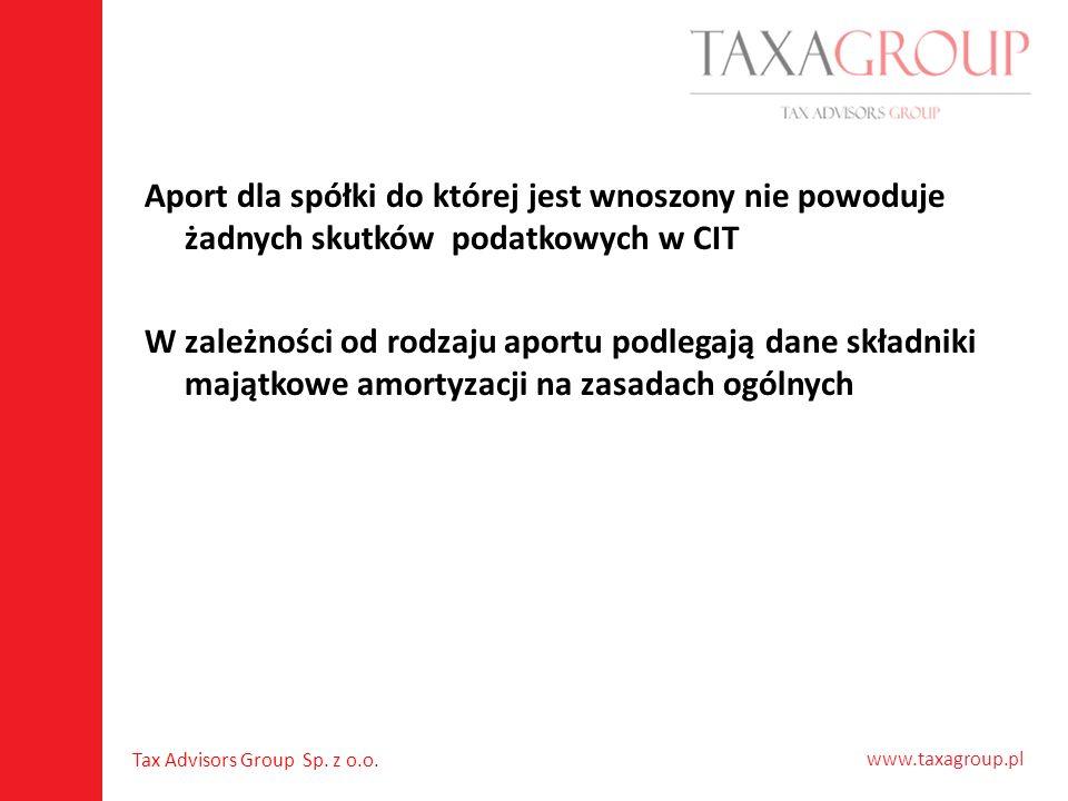 Aport dla spółki do której jest wnoszony nie powoduje żadnych skutków podatkowych w CIT W zależności od rodzaju aportu podlegają dane składniki majątkowe amortyzacji na zasadach ogólnych