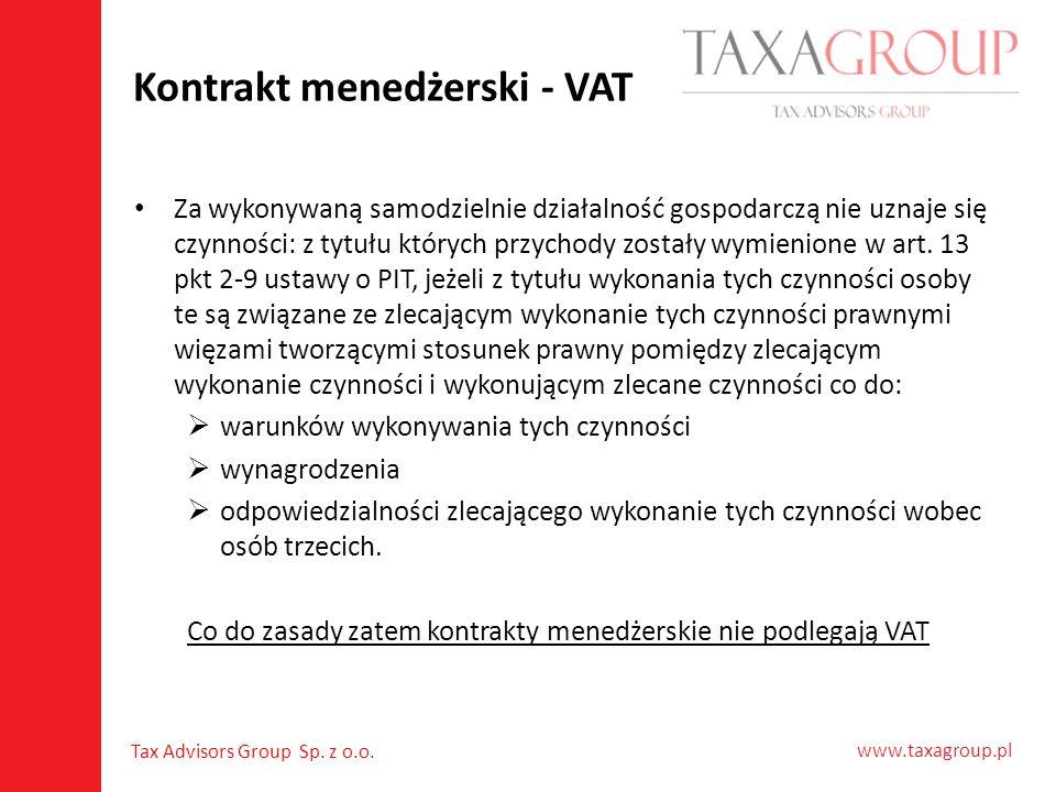 Kontrakt menedżerski - VAT