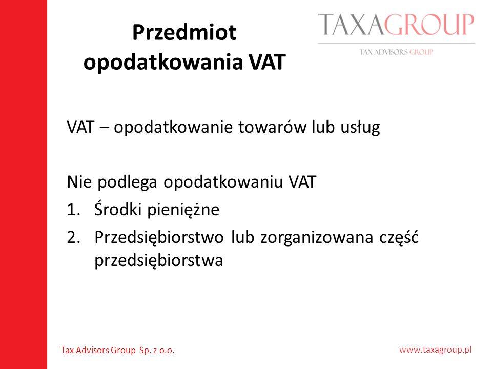 Przedmiot opodatkowania VAT