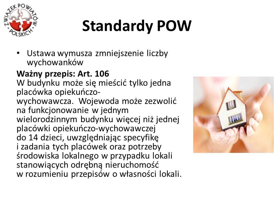 Standardy POW Ustawa wymusza zmniejszenie liczby wychowanków