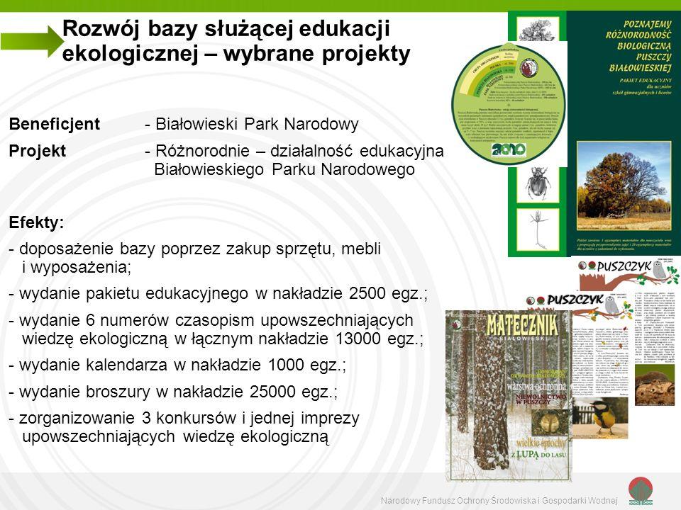 Rozwój bazy służącej edukacji ekologicznej – wybrane projekty
