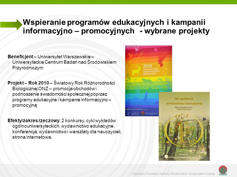 Wspieranie programów edukacyjnych i kampanii informacyjno – promocyjnych - wybrane projekty
