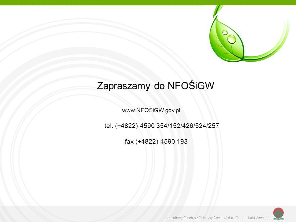 Zapraszamy do NFOŚiGW tel. (+4822) 4590 354/152/426/524/257