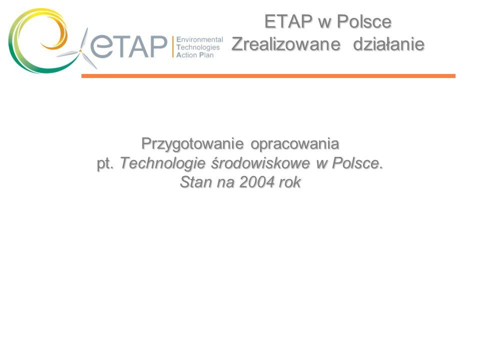 ETAP w Polsce Zrealizowane działanie