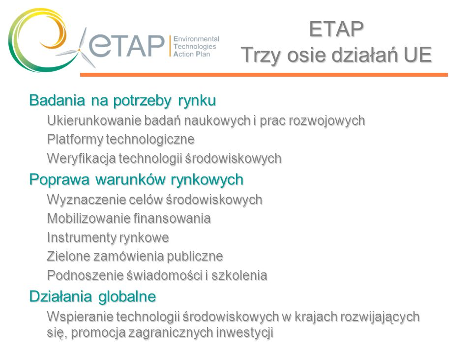 ETAP Trzy osie działań UE
