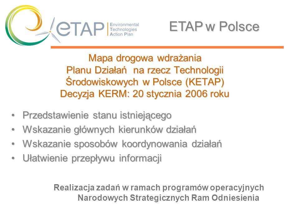 ETAP w Polsce Mapa drogowa wdrażania Planu Działań na rzecz Technologii Środowiskowych w Polsce (KETAP) Decyzja KERM: 20 stycznia 2006 roku.