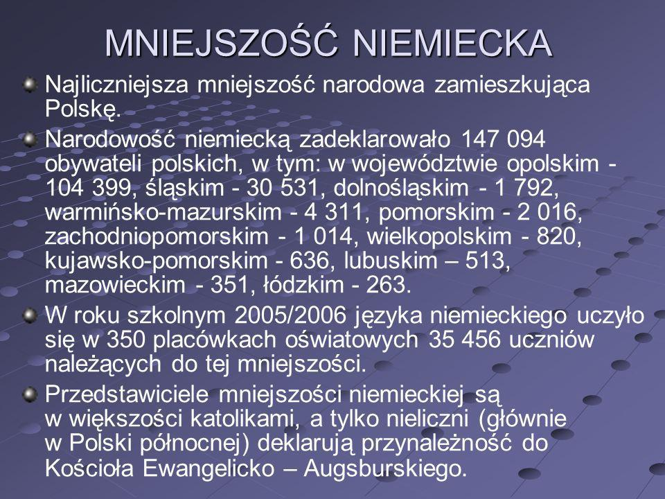 MNIEJSZOŚĆ NIEMIECKA Najliczniejsza mniejszość narodowa zamieszkująca Polskę.