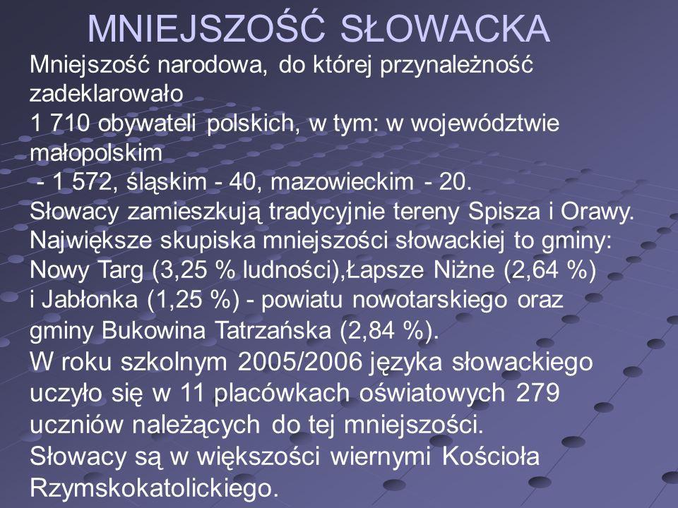 MNIEJSZOŚĆ SŁOWACKA Mniejszość narodowa, do której przynależność zadeklarowało. 1 710 obywateli polskich, w tym: w województwie małopolskim.