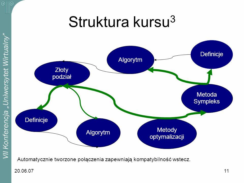 Struktura kursu3 Definicje Algorytm Złoty podział Metoda Sympleks