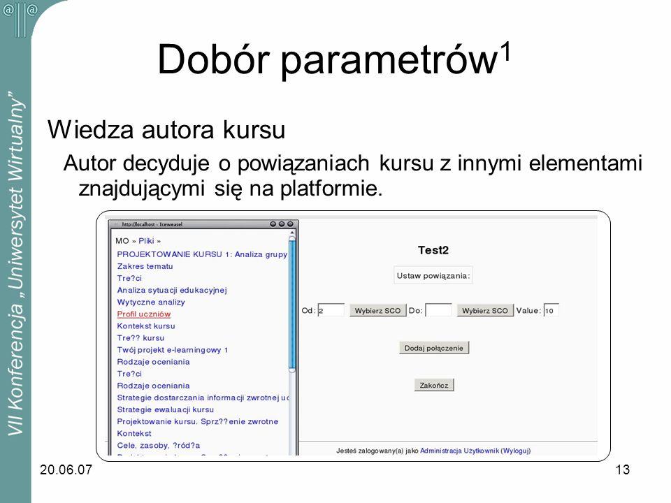 Dobór parametrów1 Wiedza autora kursu