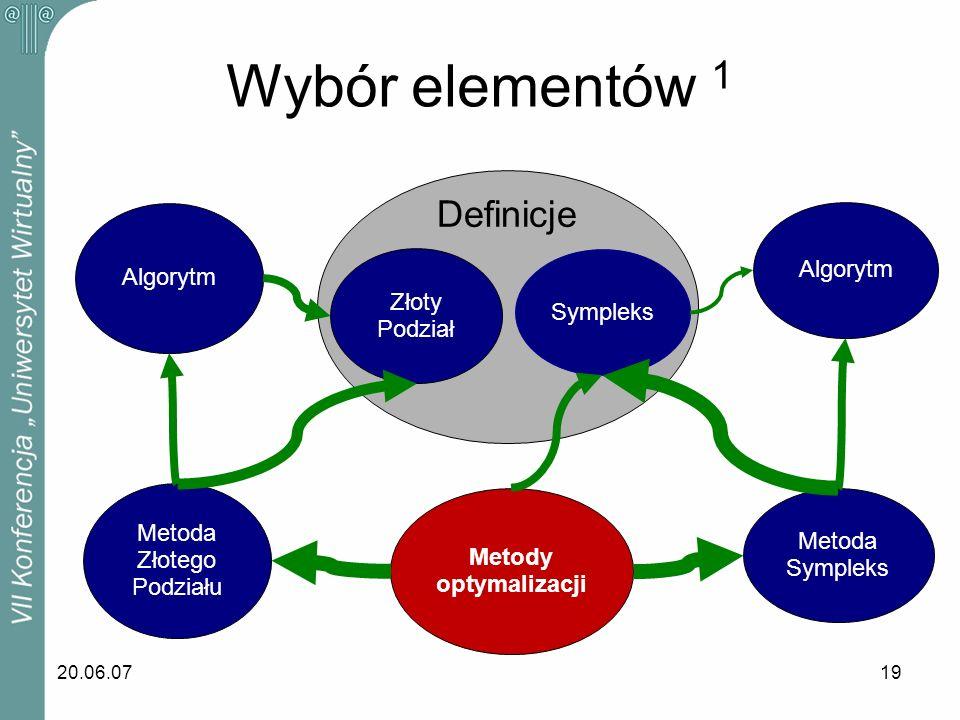 Wybór elementów 1 Definicje Algorytm Algorytm Złoty Sympleks Podział