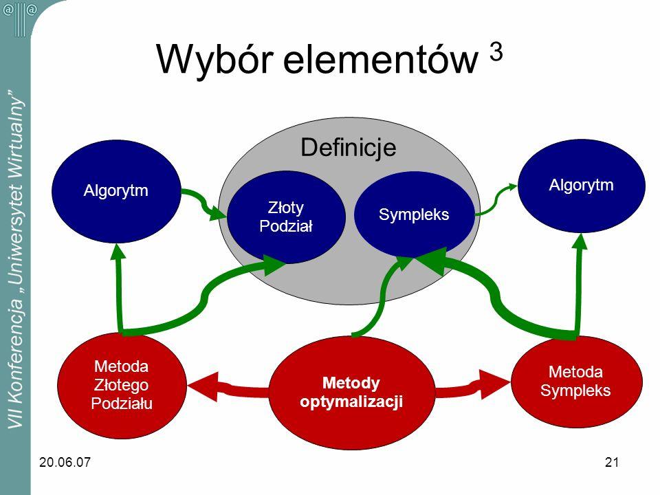 Wybór elementów 3 Definicje Algorytm Algorytm Złoty Sympleks Podział