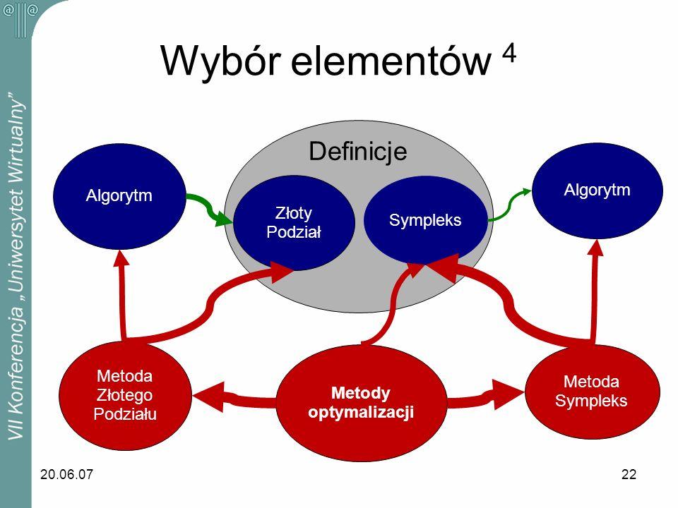 Wybór elementów 4 Definicje Algorytm Algorytm Złoty Sympleks Podział