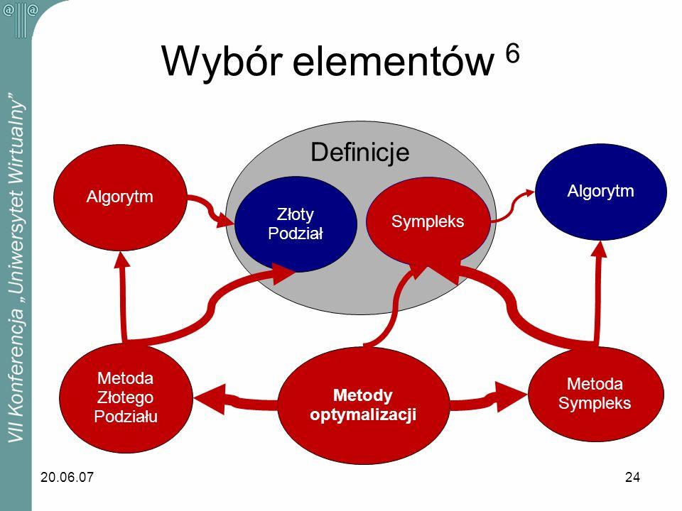 Wybór elementów 6 Definicje Algorytm Algorytm Złoty Sympleks Podział