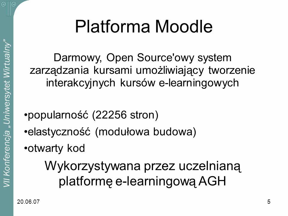 Wykorzystywana przez uczelnianą platformę e-learningową AGH