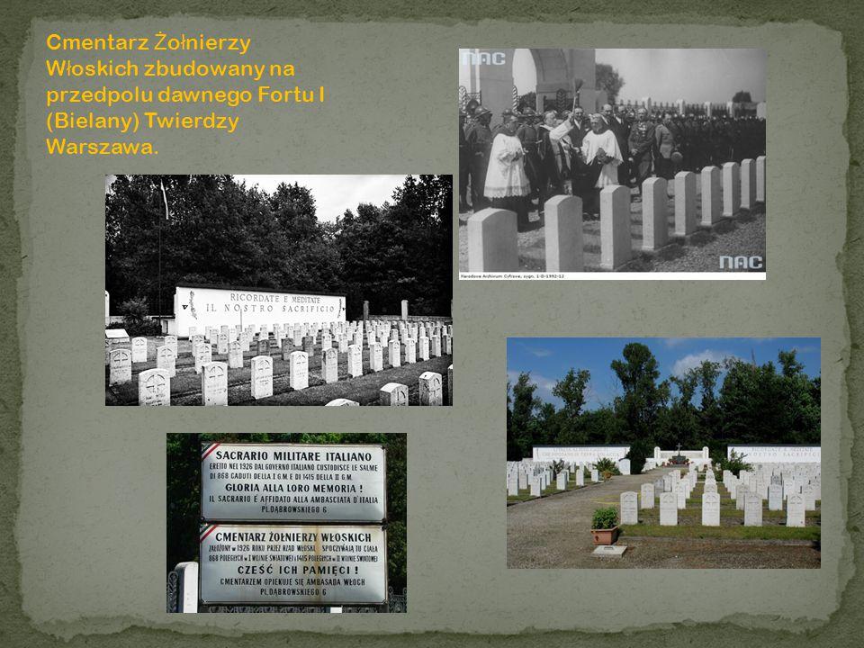 Cmentarz Żołnierzy Włoskich zbudowany na przedpolu dawnego Fortu I (Bielany) Twierdzy Warszawa.