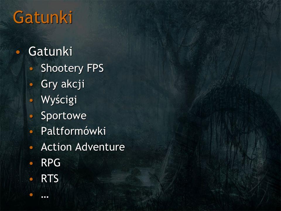 Gatunki Gatunki Shootery FPS Gry akcji Wyścigi Sportowe Paltformówki