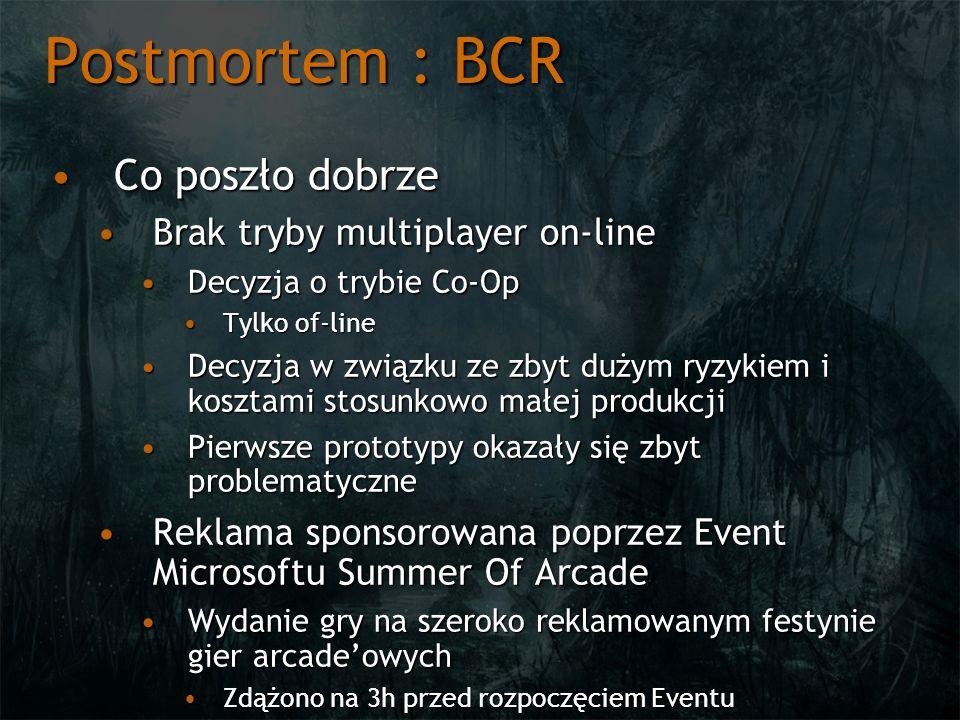 Postmortem : BCR Co poszło dobrze Brak tryby multiplayer on-line